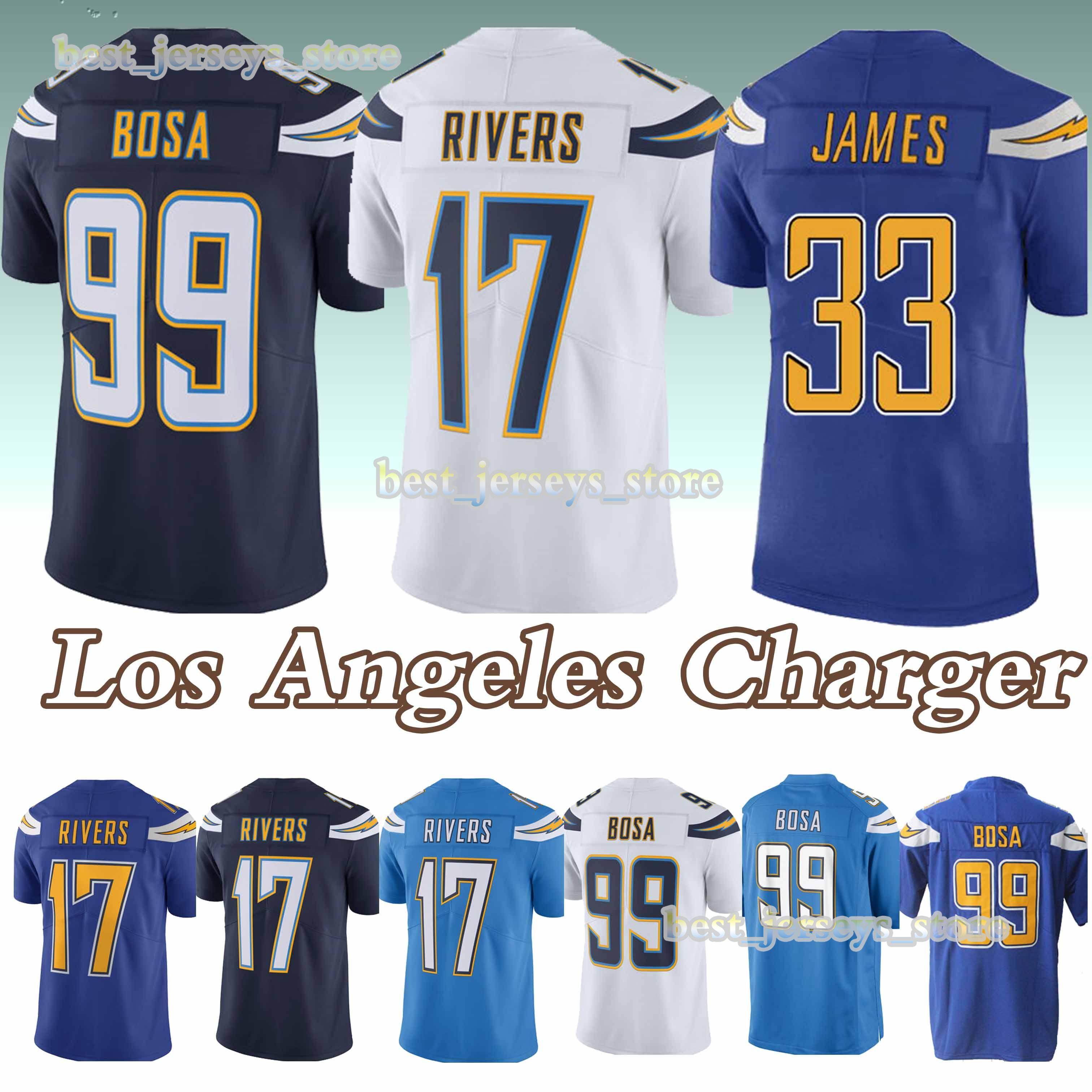 new product f503f f885a 17 Philip Rivers 33 Derwin James Los Angeles jerseys Charger 99 Joey Bosa  new jersey 2019 Design sweater