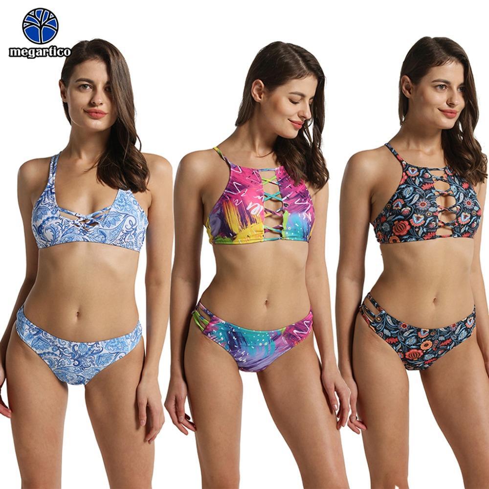 7ba676ceb7 Acheter Bikini Brésilien Pas Cher 2019 Mujer Élégant Femmes Maillots De  Bain À Lacets Fleurs Imprimé Licou Maillot De Bain Femmes Maillot De Bain  Femme De ...