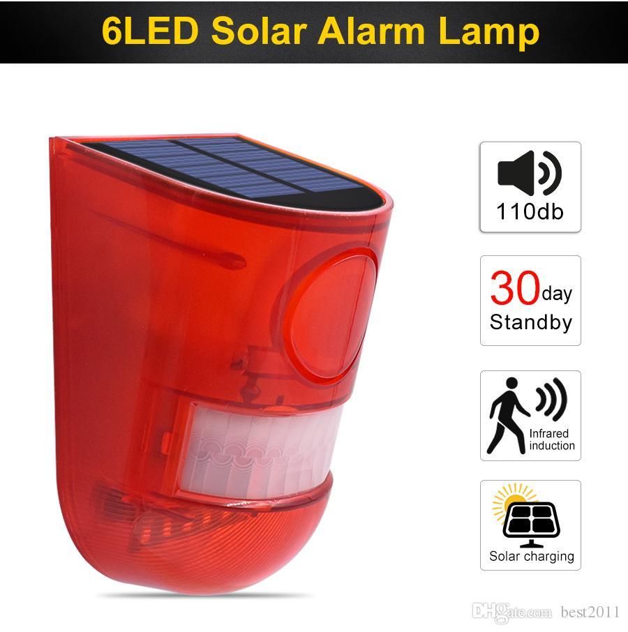 Новые Solar Alarm Light 110dB 6 Солнечная Светодиодные лампы Водонепроницаемый солнечной предупреждающего Свет Звук сигнализации лампы с датчиком движения