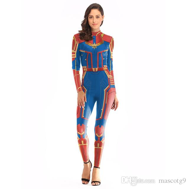 Women Girls Movie Captain Marvel Carol Danvers Cosplay Costumes Superhero Halloween Patty Zentai Costume Suit Women Kids Adult Costumes & Accessories