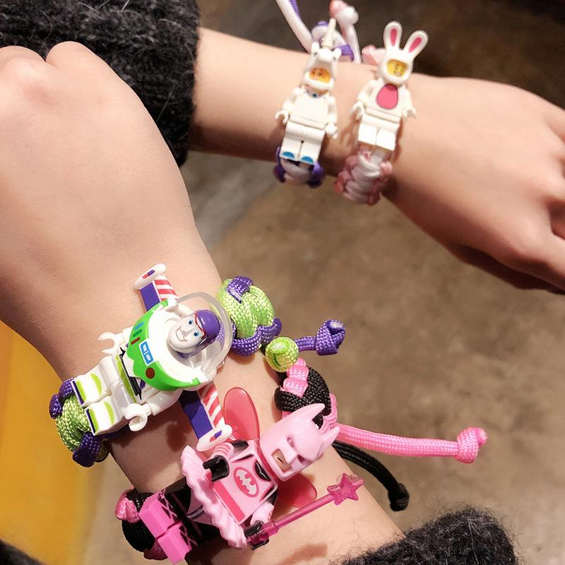 12 Colors Building Block Cartoon Character Bracelet Student Lovers Bracelet Braided Rope Bracelet for Boys Girls