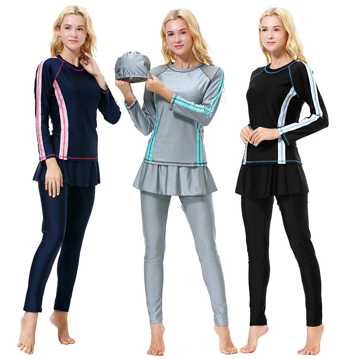 9cb90344553 2019 H1010 Burkini Islamic Swimwear Women Muslim Modest Swim Suit Fashion  Abaya Set Full Covered Short Sleeve Plus Size From Dujotree, $23.53 |  DHgate.Com