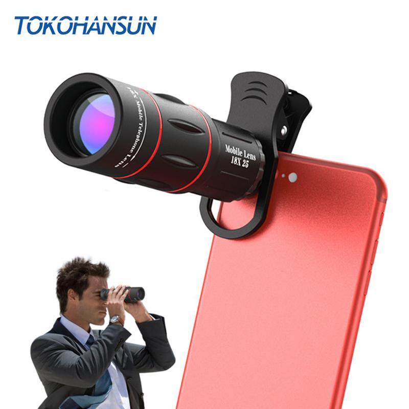 b5fb36bb07e7aa TOKOHANSUN 18X Telescope Zoom Mobile Phone Lens for IPhone X Samsung  Smartphones Universal Clip Telefon Camera Lens with Tripod Online with  $31.9/Piece on ...