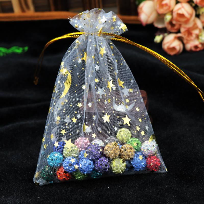 Hotsale Moon Star Organza Bags 7x9cm Small Party Favor Drawstring Gift Bag Candy Jewelry Packaging Bags & Pouches