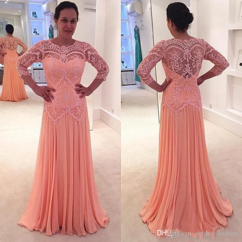 Plus Size Custom Made Peach Mother of the Bride Dresses A Line Long Sleeves  Formal Godmother Evening Wedding Party Guests Gown