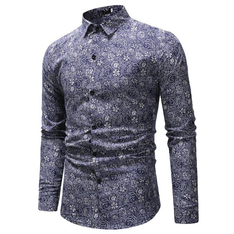 fc41b448c4 Compre 2018 Retro Floral Impresso Homem Camisas Casuais Moda Clássica Dos  Homens Vestido De Camisa Respirável Dos Homens Roupas De Manga Longa De  Kennethy