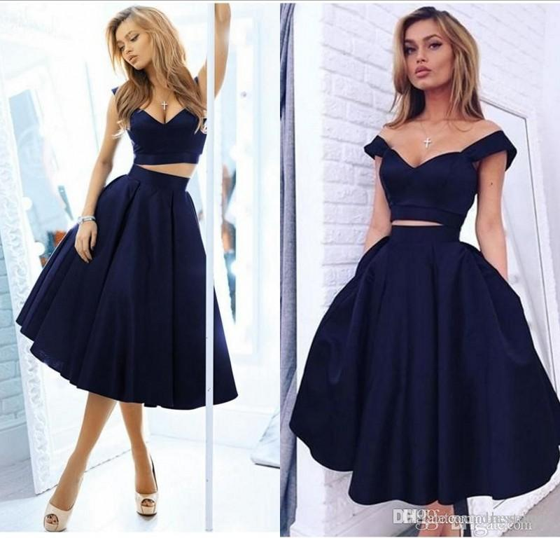 f25a82d3db38 Navy Blue Off Shoulder Homecoming Dresses Deep V Neck Tea Length Prom Party  Gown Cocktail Dresses Short Red Homecoming Dress Stores For Homecoming  Dresses ...