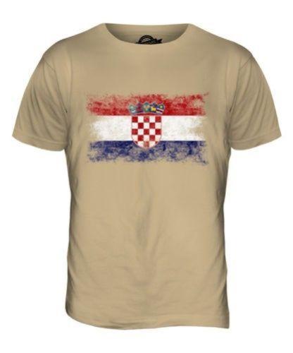 41301995301 CROATIA DISTRESSED FLAG MENS T SHIRT TOP HRVATSKA FOOTBALL CROATIAN ...