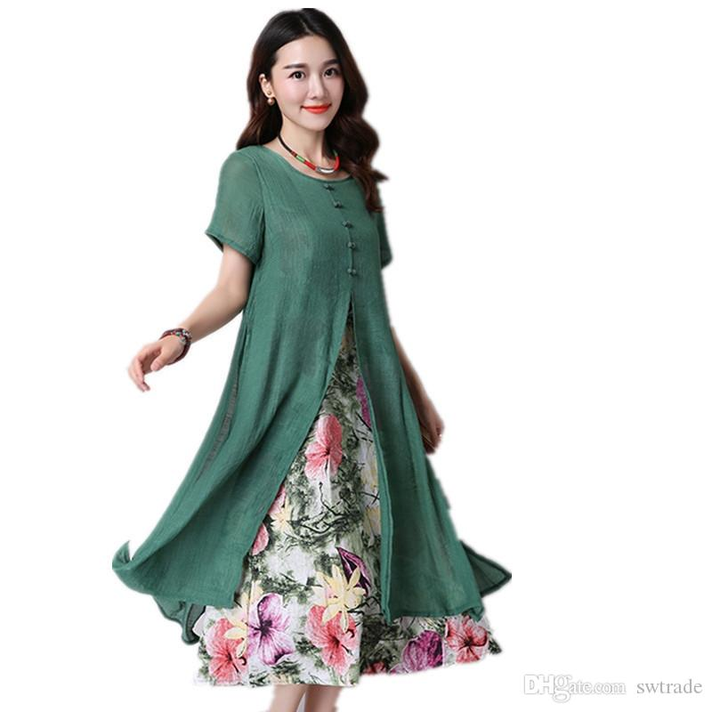 1e881973c09d9 Clobee 2017 Long Dress Vintage Print Floral Women Dress Tunic Cotton Linen  Short Sleeve Plus Size Summer vestido de festa #394726
