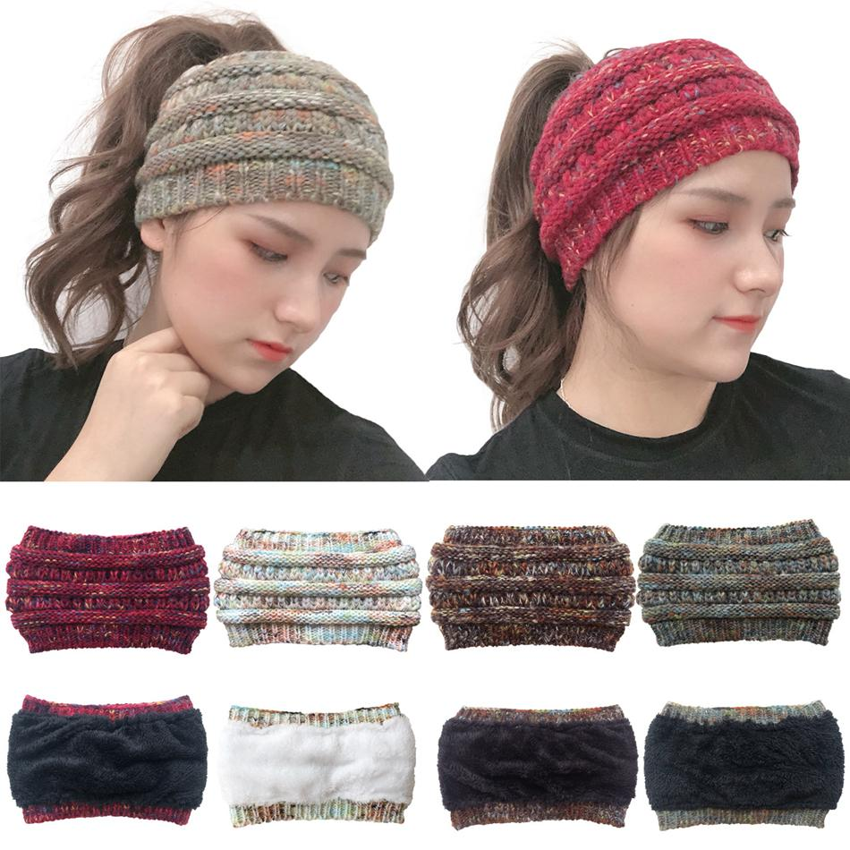 Femmes en tricot Crochet Bandeau Sports d'hiver Headwrap Hairband Turban Head Band Ear Warmer Bonnet Cap Bandeaux LJJA3424-13