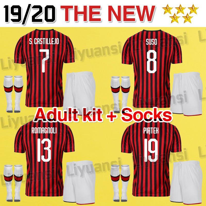 Cutrone Kit Bakayoko Borini 2020 7 Kessie Jersey Caldara 19 Shirt Milan Patch Football Camisa Uniforms Ac Soccer 20 Higuain 2019 Calhanoglu