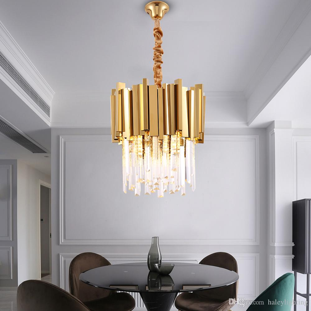 Small Round Gold Chrome Kitchen Chandelier Lighting Modern Crystal Lamp For Dining Room Luxury Foyer Led Chandeliers Pendant Chain