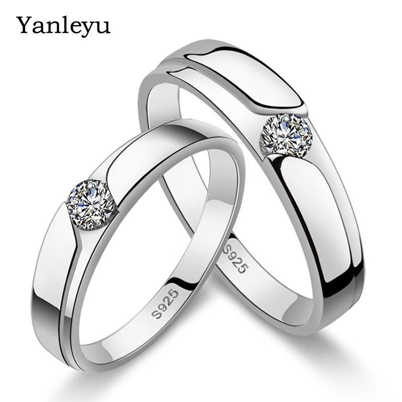 5e8fbf1c0d 2019 Yanleyu Fashion Women And Men Open Couple Rings 100% 925 Sterling  Silver Wedding Bands Jewelry Ring Set PR156 From Dushibracelet, $21.27 |  DHgate.Com