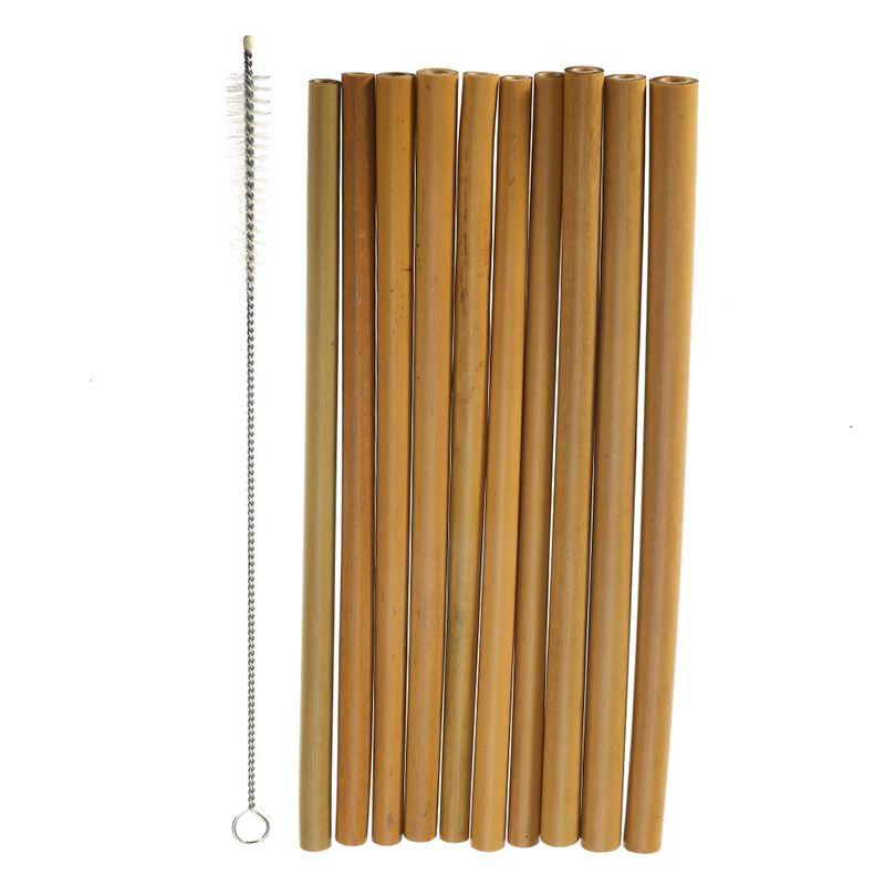Grosshandel 10 Teile Satz Bambus Trinkhalme Wiederverwendbare