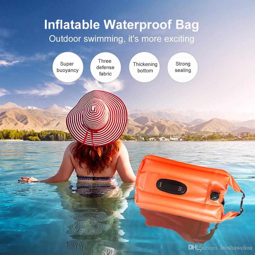 18L 28L PVC Waterproof Bag Swimming Buoy Safety Float Inflatable Flotation  Air Bag Dry Super Buoyancy Three Defense Fabric Strong Sealing