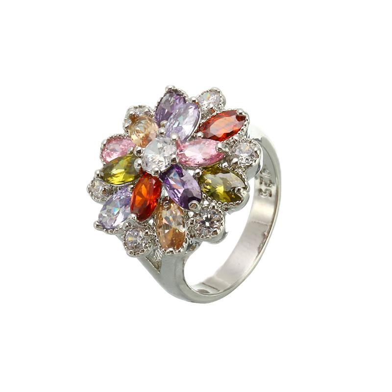 Multicolor Cubic Zirconia Ring Size 6 7 8 9 10 Retro Silver Flower Party Engagement Rings For Women Fashion Jewelry Gifts