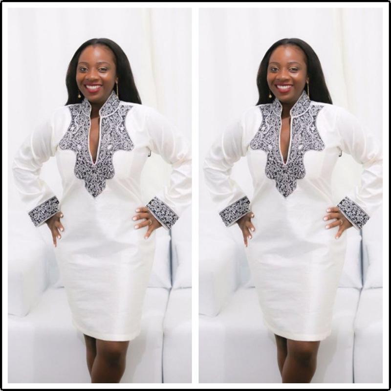 dee134886c4 2019 High Quality African Dresses For Women Dashiki Print V Neck Knee  Length Dresses Dashiki African Women Clothing White From Wochanmei