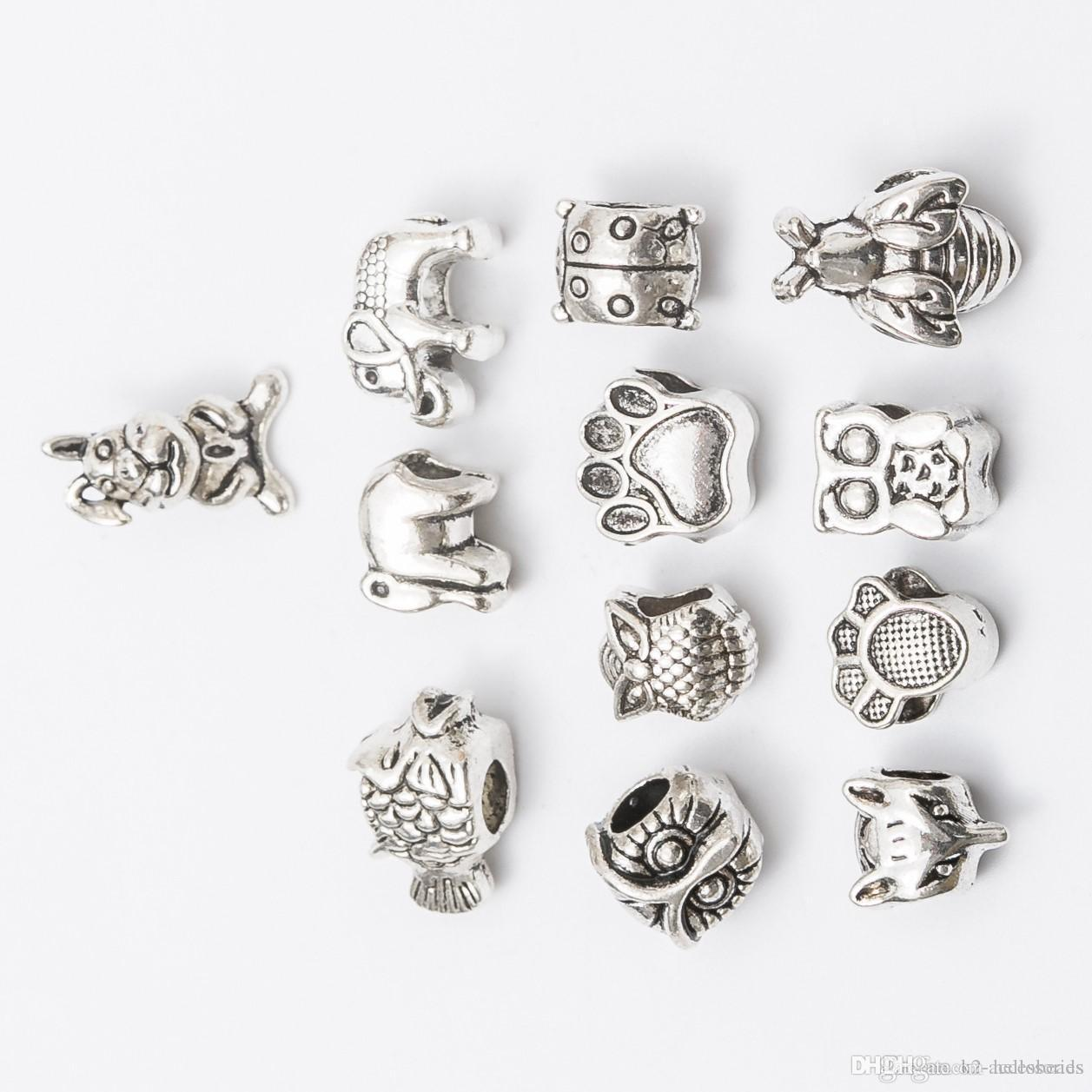 Mix elephant owl dog Antique Silver Plated Alloy Big Hole Spacer Beads fit bracelet DIY Jewelry Necklaces & Pendants charms Beads