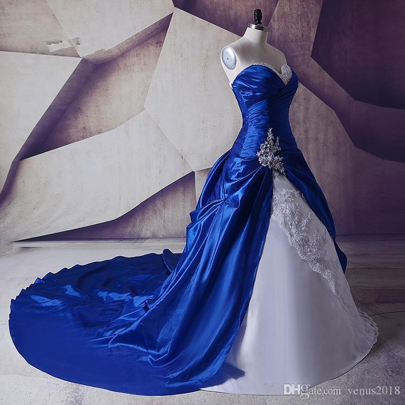 Blue Wedding Dresses 2019: Discount Shiny Real Image New White And Royal Blue A Line