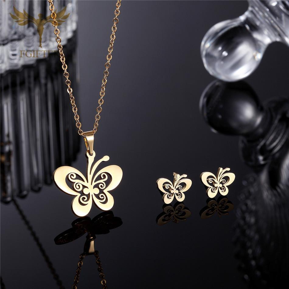 FGifter Gold Butterfly Stud Pendientes Conjuntos de Joyas para Niñas Niños Joyería de Acero Inoxidable Regalos de Niños Al Por Mayor