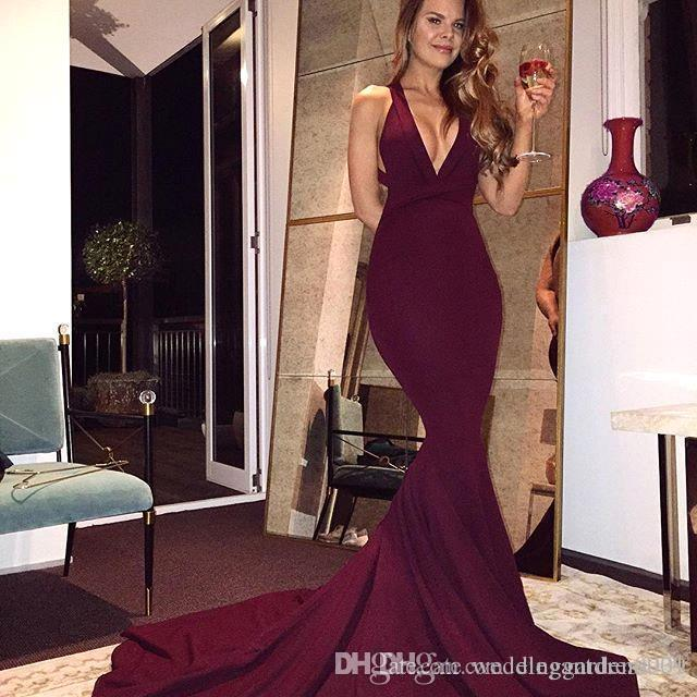 3e4f2b1e226 2019 Cheap Burgundy Mermaid Prom Dresses Simple V Neck Sleeveless Backless  Sweep Train Satin Evening Dress Robe Formal Dresses Custom 50s Prom Dress  After ...