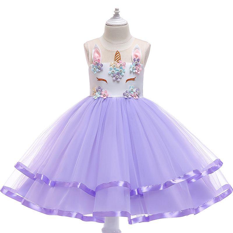 98b12e5b8302 2019 Unicorn Floral Dresses Girl Princess Tutu Dress Rainbow Lace Dresses  Boutique Bubble Clothing Wedding Flower Girls Dresses From Mapa_baby, ...