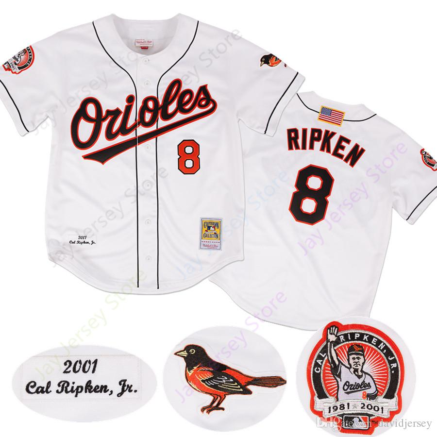 timeless design d5a13 d230e Custom Cal Ripken Jersey 2001 Cooperstown MN With Retirement Patch Button  Down Adult size S-3XL All Stitched