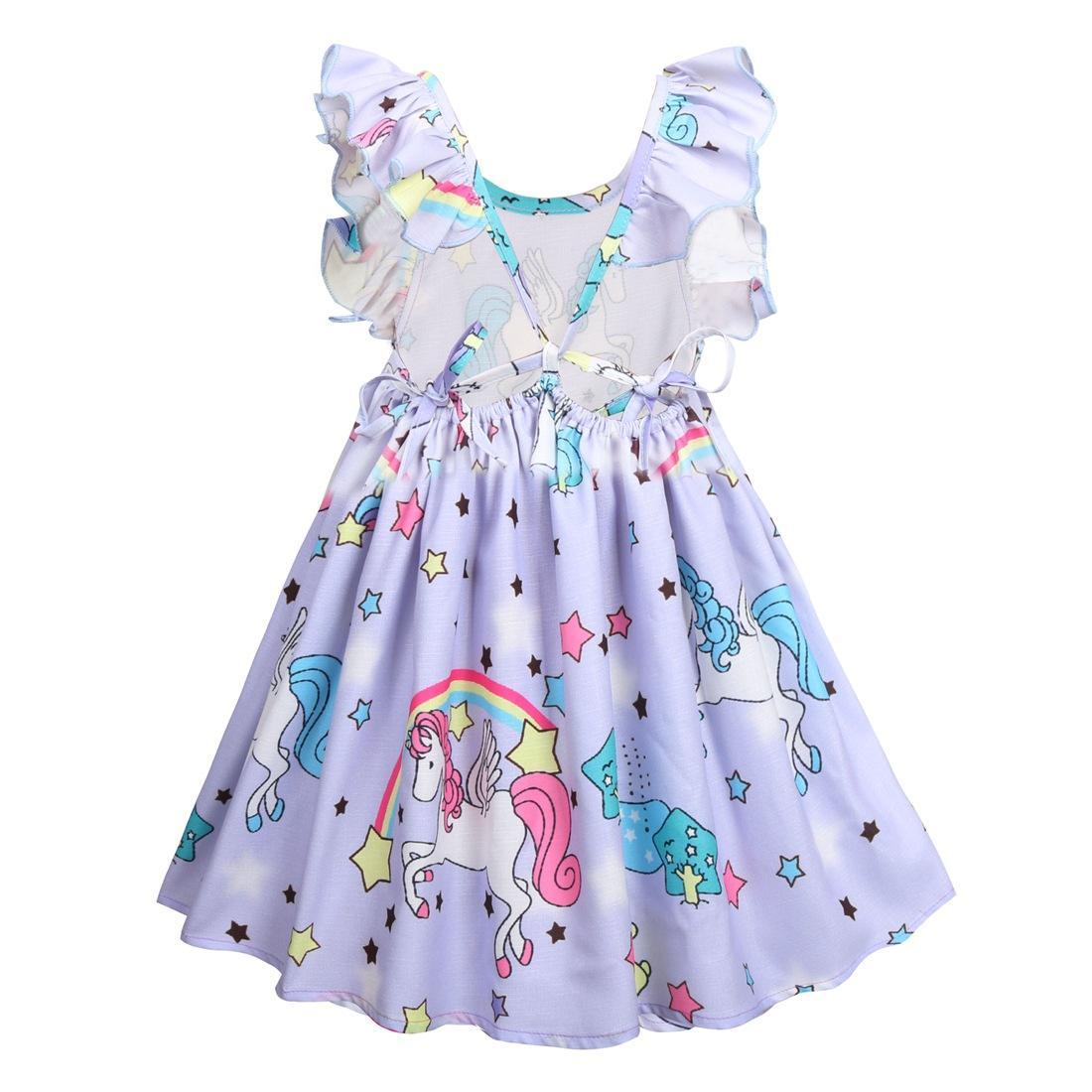 d75b82de4b Nuove ragazze arcobaleno unicorno vestito colorato stella falbala manica  bambini principessa abito INS bambini vestito estivo bambini vestiti del ...