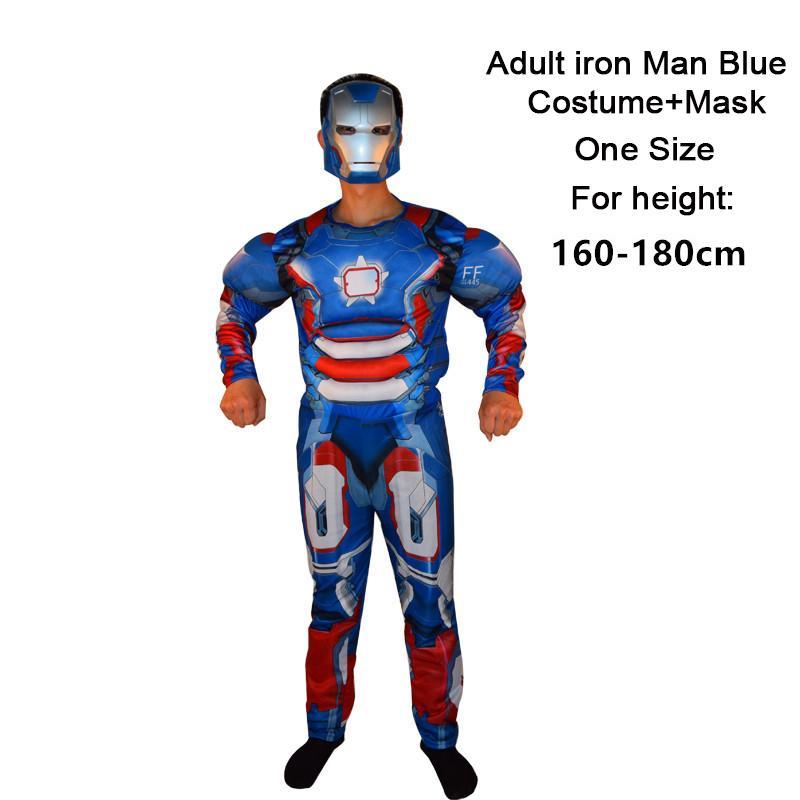 Acquista Uscle Costume Adulto UOMO Supereroe Spiderman Batman Superman  Americano Capitano Hulk Thor Ferro Uomo Muscolo Costume + Maschera  Halloween . ca6629b966ab