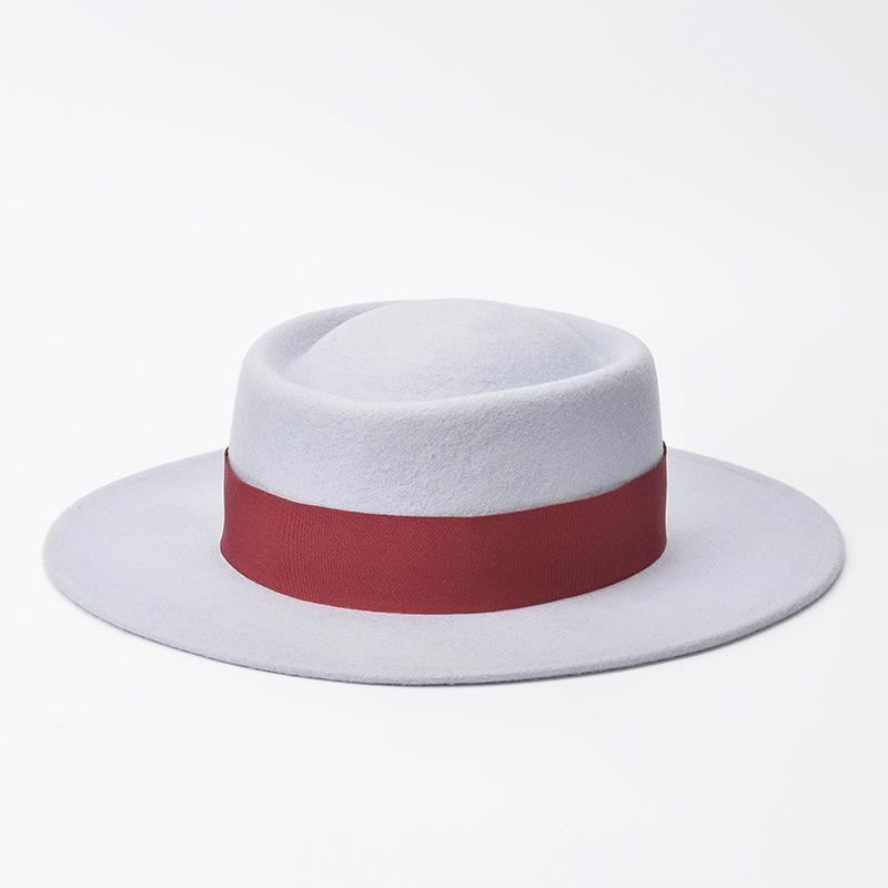 01811-HH8088 British Style winter 100% wool Ribbons of different colours fedoras cap men women wool hat