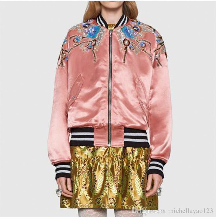 2019 Même De Perles Baseball Vestes Outwea Paillettes Vestes Style Rose Femmes Magnifique Milan Piste Designer Marque Broderie Femmes IDH29WE
