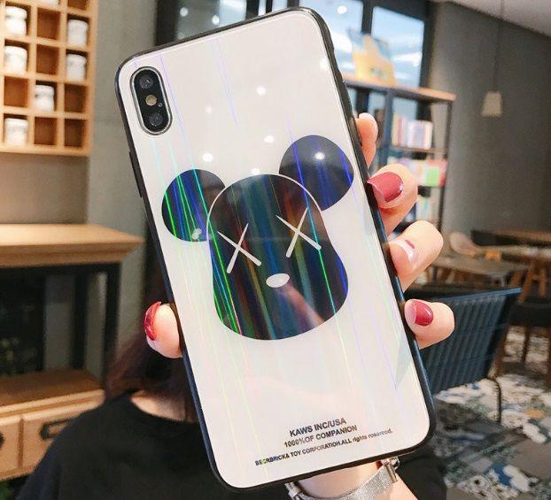 Yeni karikatür Telefon Kılıfları Temperli Cam Arka Levha Iphone Xs Için Max TPU Yumuşak Sınır Cep Telefonu Kılıfı Iphone 6 6 s 7 8 Artı DHL