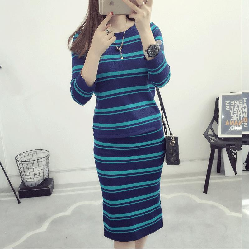 6a44a7cd37a1 Two Piece Set Women Striped Knitted Skirts Suits 2018 New Autumn ...