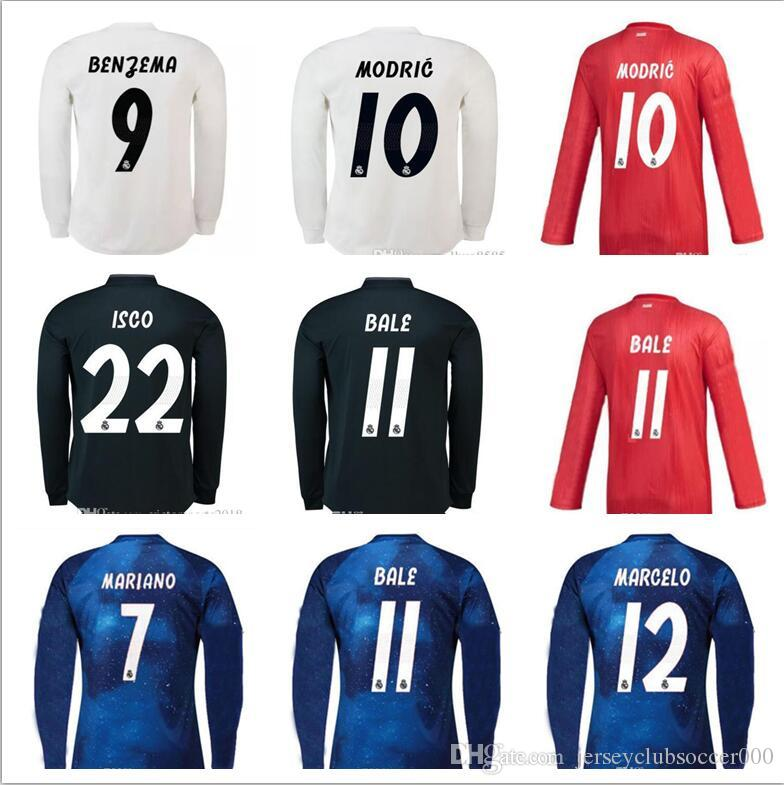 87462f6d9 2019 Real Madrid EA Sports Long Sleeve Soccer Jersey 2019 Champions League  10 MODRIC 12 Marcelo  20 ASENSIO ISCO Away Coral Red Football Uniform From  ...