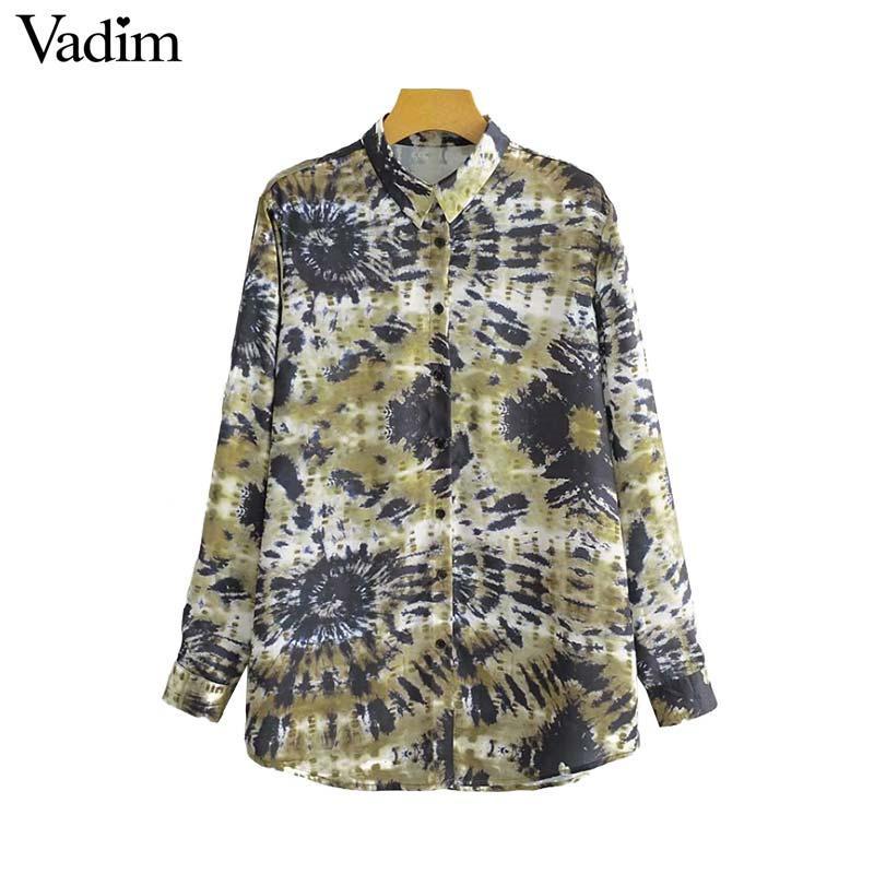 2607588ebfdaf Vadim women vintage basic print blouse long sleeve turn down collar loose  female casual shirt retro chic tops blusas