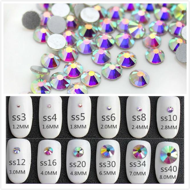 dbc7f912ce Super Glitter ss3-ss50 Crystal AB Flat Back Non HotFix Nail art Rhinestone  3D Glass Nail Art Decorations Garment Mix Rhinestone C19011401