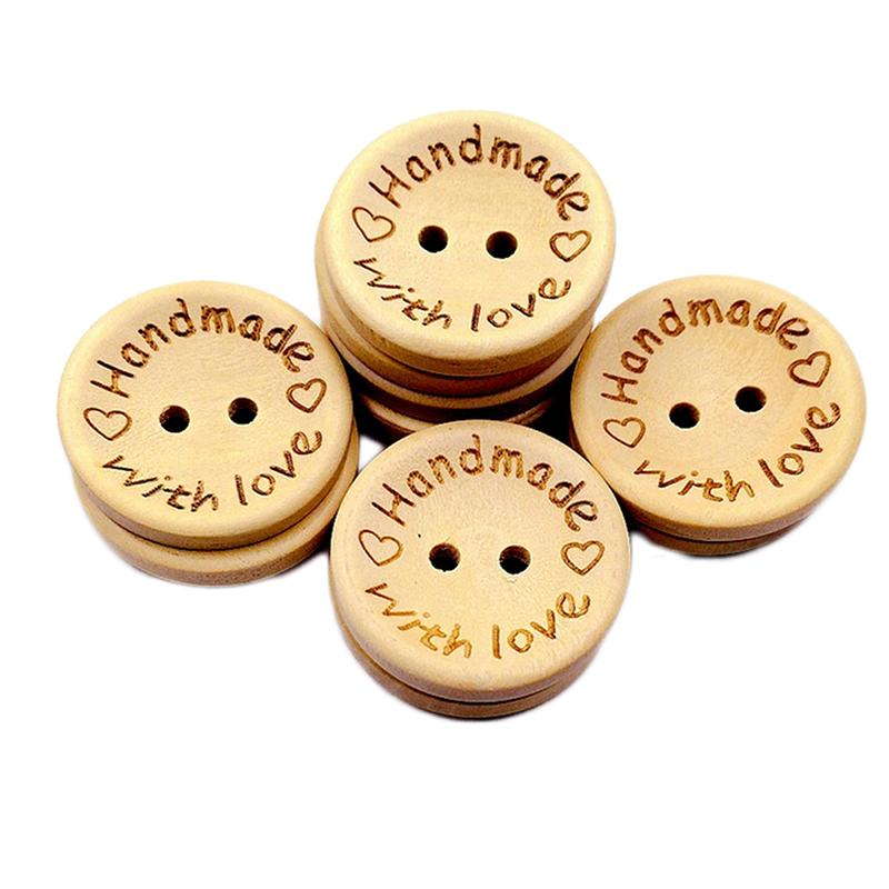 100 Pcs New Handmade with Love Button Round Shape Natural Wooden Buttons for Sewing Scrapbooking and DIY Crafting Decoration