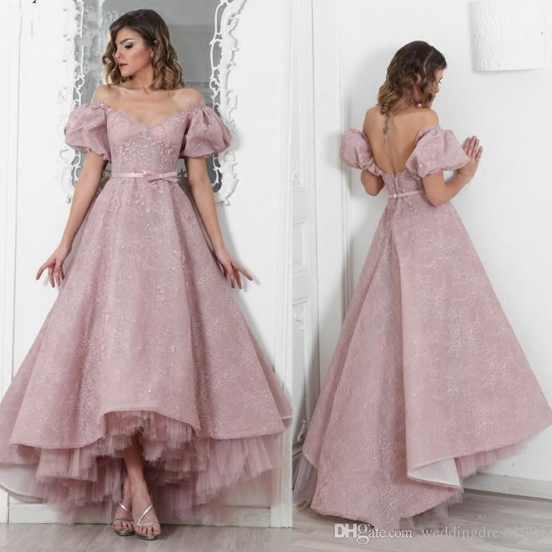 Trendy Dusty Pink Lace Evening Dresses High Low African Plus Size Puffy Sleeve Prom Occasion Saudi Arabia robe de mariée Pageant Party Gowns