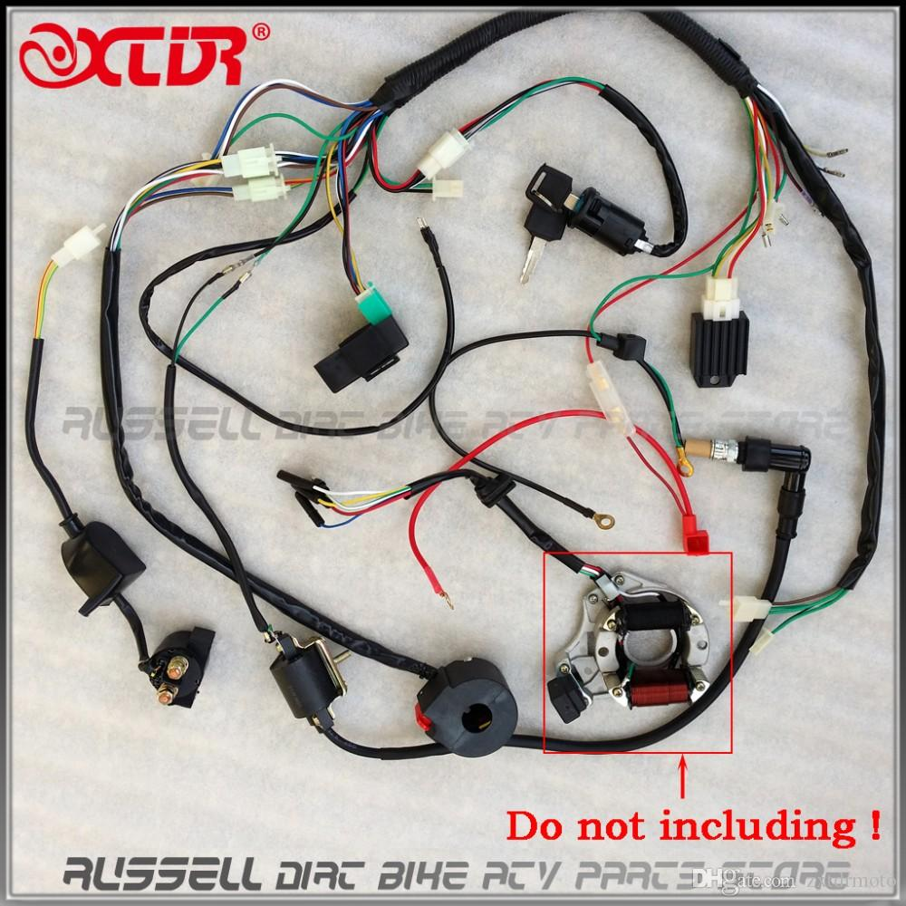 full electrics wiring harness cdi ignition coil rectifier switch 110cc 125cc atv quad bike buggy gokart Arc Wiring Harness