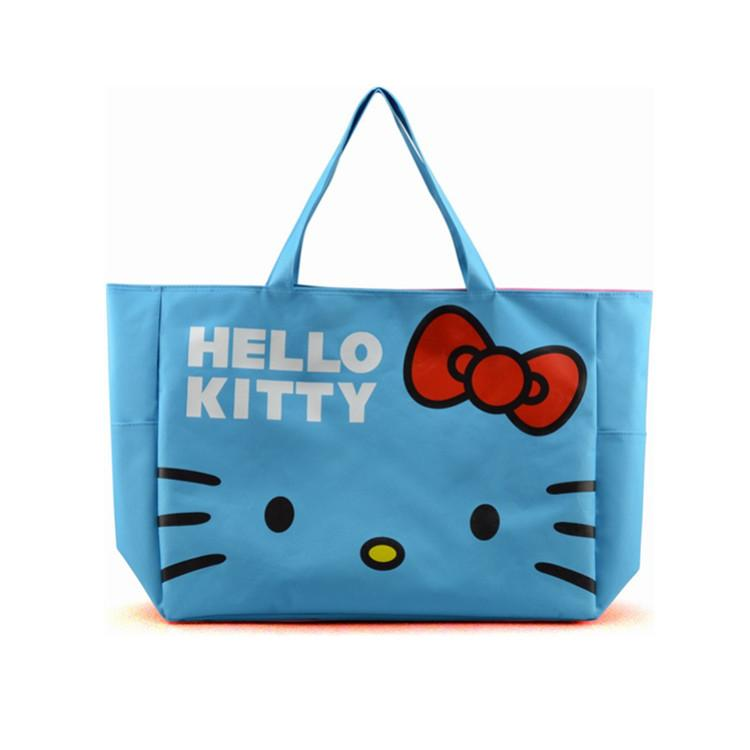 Foldable Cute Handbags Girl Women Travel Organizer Hello Kitty Shoulder Eco Shopper Beach Bags Accessories supplies products