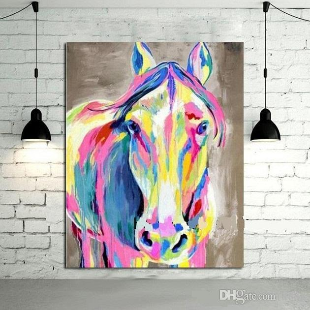 Colorful Horse,High Quality Hand-painted / HD Print Modern Cartoon Animals Art Oil Painting,Home Wall Decor On Canvas Multi sizes C017