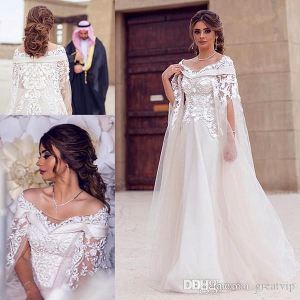 d55a86de36026 Discount Dubai Lace Cape Style Wedding Dresses Bateau Lace Beads Maternity  Arabic Dress A Line Bridal Gowns Custom Made Robe De Mariée Wedding Gown  Dresses ...
