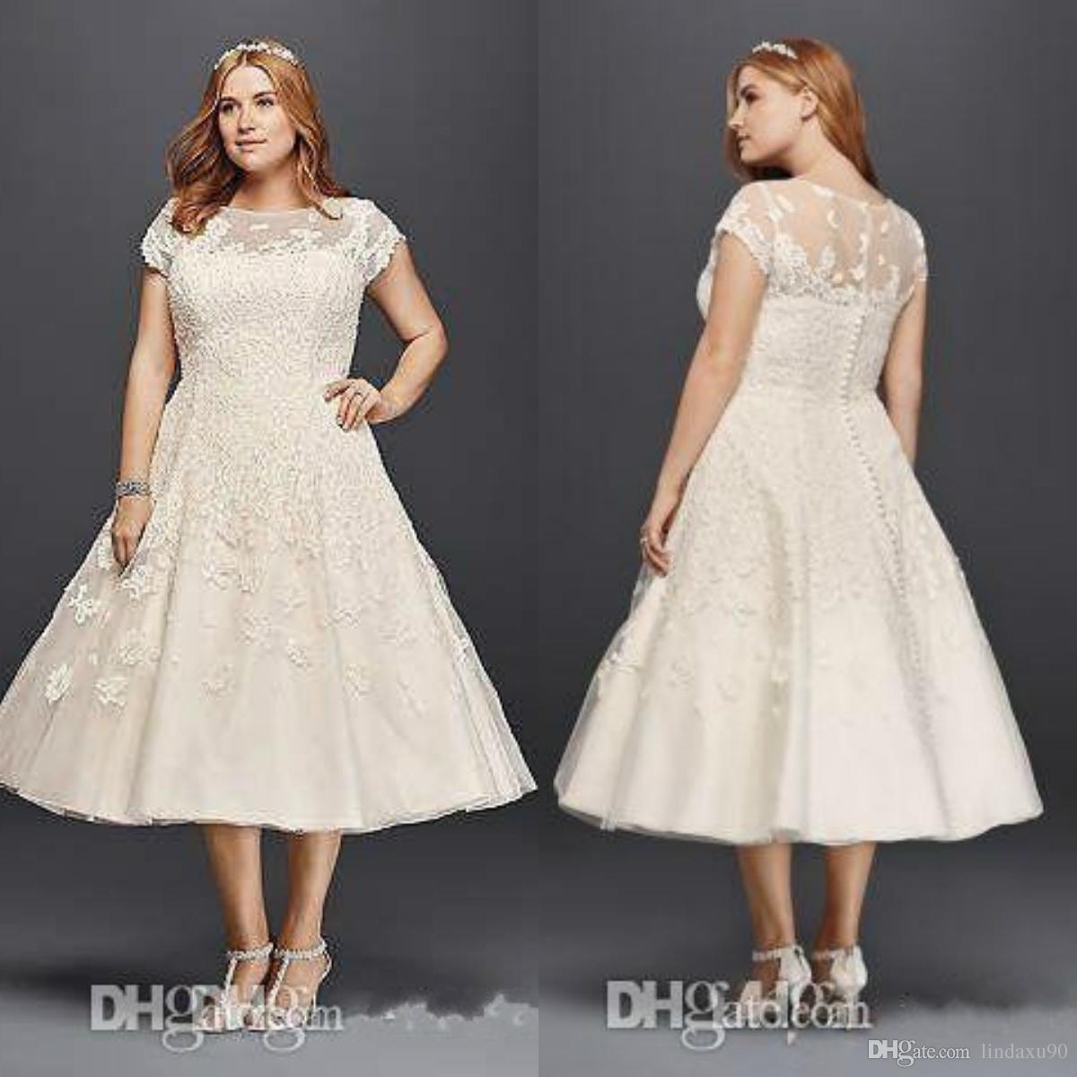Vintage Tea Length Wedding Dresses Plus Size A Line 2019 Garden Outdoor  Oleg Cassini Short Sleeve Holiday Beach Sheer Back Bridal Gowns