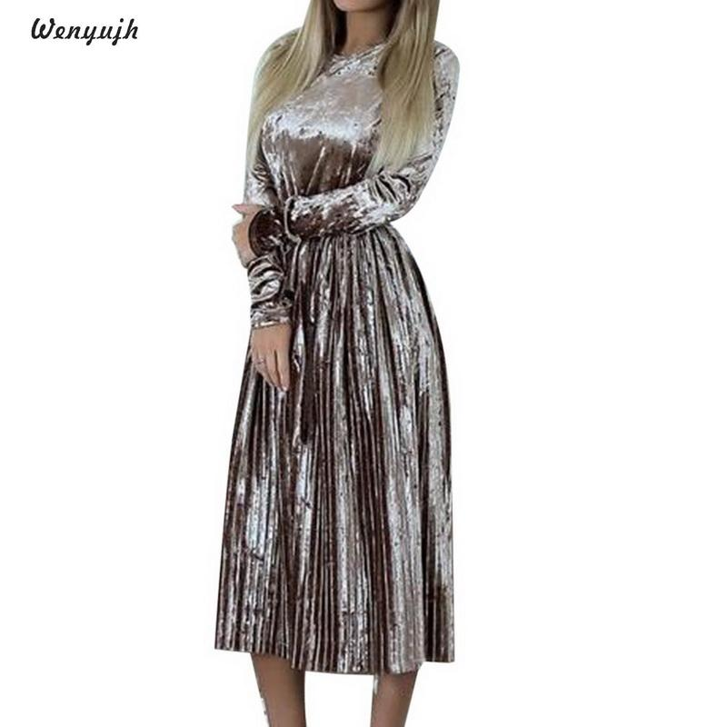 3a41920cad6f WENYUJH Vintage Long Sleeve Velvet Dress Women 2019 Bodycon Belted Midi  Dress Spring Pleated Party Dresses Vestidos Robe Femme White Cocktail Party  Dresses ...