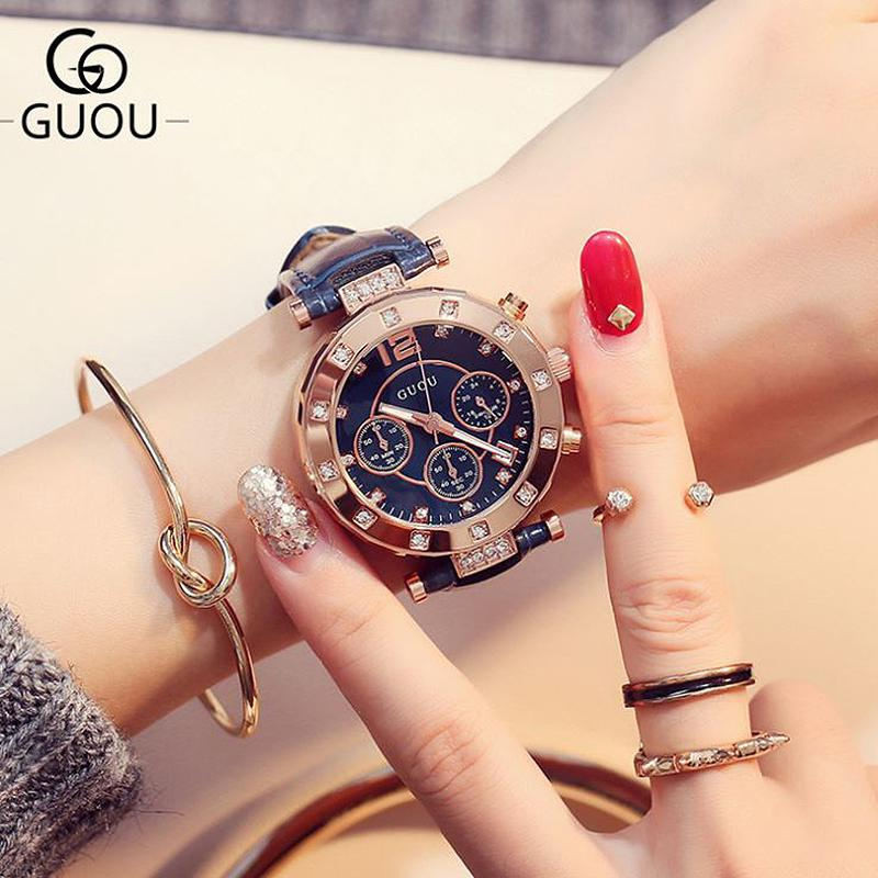 Guou Women's Watches 2019 Ladies Watch Women Diamond Watches Bracelets For Women Montre Femme Auto Calendar Clock Leather Saat Y19062402