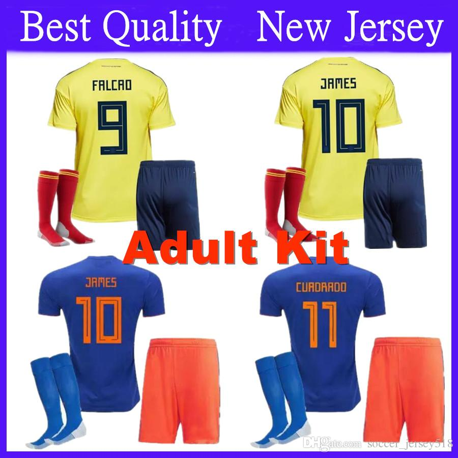 Adults 2018 World Cup Colombia Soccer Sets Rodriguez James Falcao Cuadrado  TEO BACCA SANCHEZ Home Away Kit Jersey Football UK 2019 From  Soccer jersey518 8fcf03c33