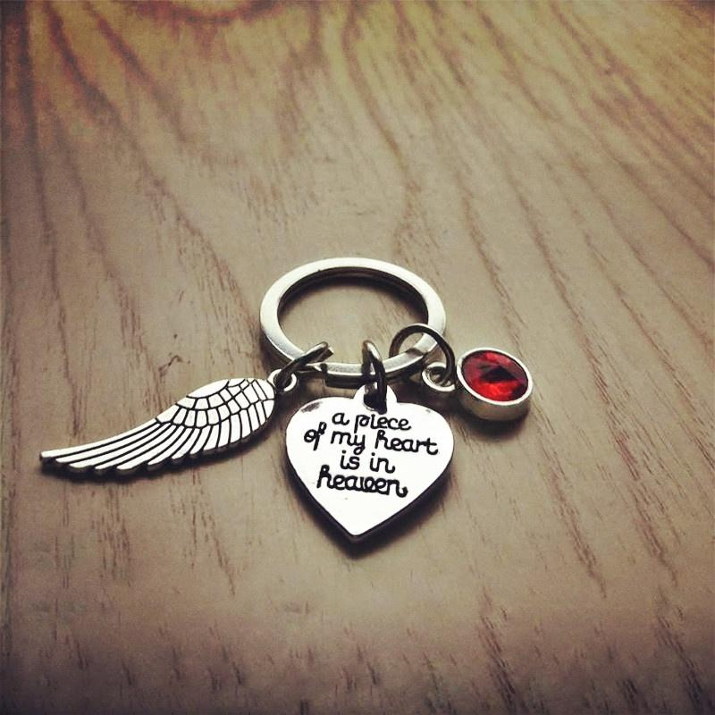'A Piece of my heart is in Heaven' Keychain, Memorial Keychain, Angel Wing, Memorial jewelry, Heart Keychain, Sympathy Gift