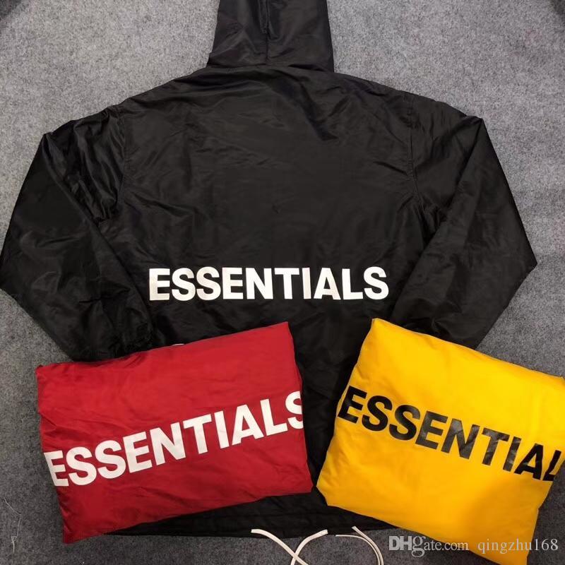 6be81a6c68f7a 2019 Best Version Fear Of God ESSENTIALS Letter Printed Women Men  Windbreaker Jacket Hip Hop FOG Waterproof Jackets Coat S Xl Cool Mens Coats  Jacket And ...