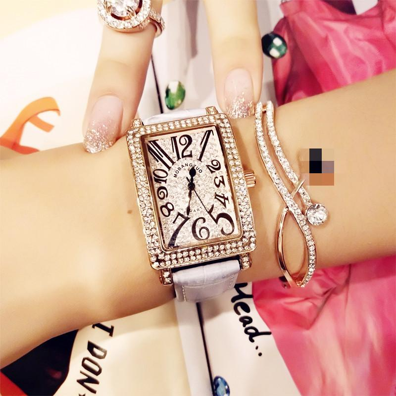 New Fashion Casual Ladies Quartz Watch Full Rhinestone Watch Rose Gold Female Square Leather