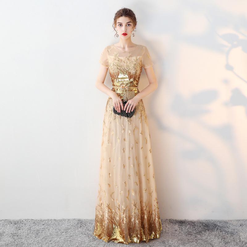 022ff2b18c2 Satın Al TS9213 Altın Gelinlik Modelleri Mermaid Payetli Uzun Abiye Giyim  Scoop Boyun Keyhole Geri Lace Up Kadınlar Elbiseler Parti, $96.49 |  DHgate.Com'da